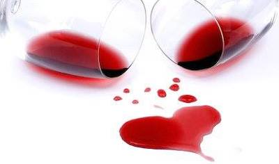 Wine spilled into the shape of a heart
