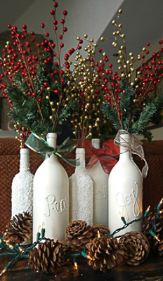 Painted wine bottle christmas decorations