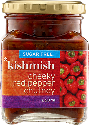 Bottle of Cheeky Red Pepper Chutney  Gourmet Products Kishmish