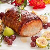 Bacon-Wrapped Fig & Blue Cheese Stuffed Pork Tenderloin