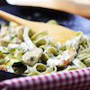 Spinach Fettuccine with Sea Bass and Lemongrass-Coconut Cream Sauce