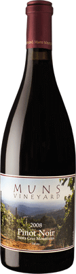 Muns Vineyard 2008 Pinot Noir Santa Cruz Mountains