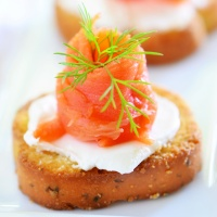 Smoked Salmon and Dill Cream Crostinis