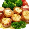 Bacon-Wrapped Scallops with Mascarpone Polenta & Roasted Pepper Salad